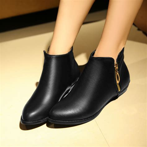 flat heel shoes for womens black leather ankle boots flat yu boots