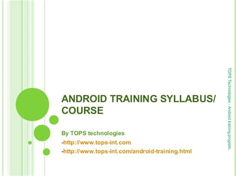 android certification android syllabus course