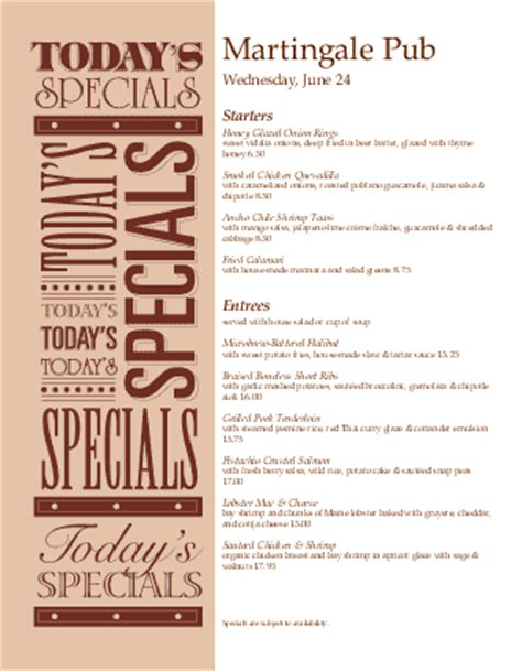menu specials template todays special menu daily special menus