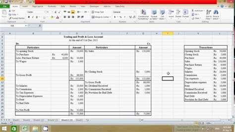 trading profit and loss account and balance sheet template with