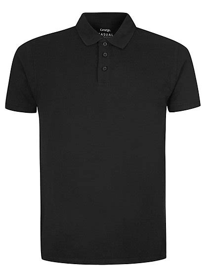 Polo Shirt Black basic pique polo shirt black george at asda