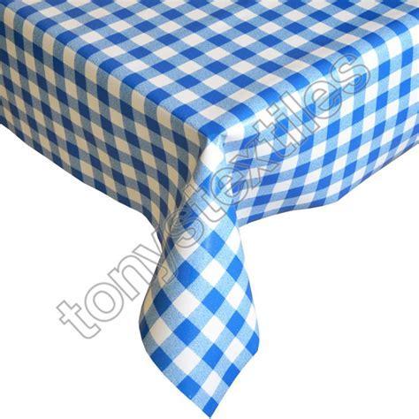 Gingham   Check   Blue   Plastic   Vinyl   Tablecloth