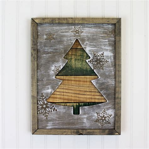 home decor framed art framed rustic christmas tree holiday decor winter home