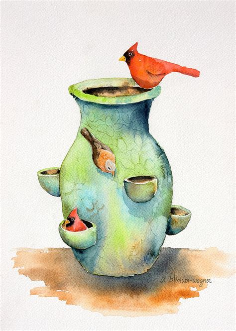 pottery vase and birds painting by arline wagner