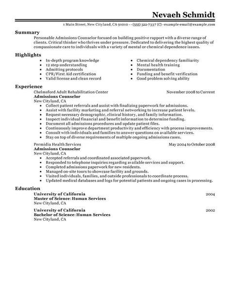admissions advisor cover letter sample livecareer admissions
