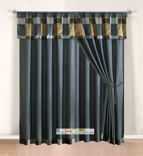 Gray Sheer Valance 4 Pc Jacquard Patchwork Curtain Set Pewter Silver Gray