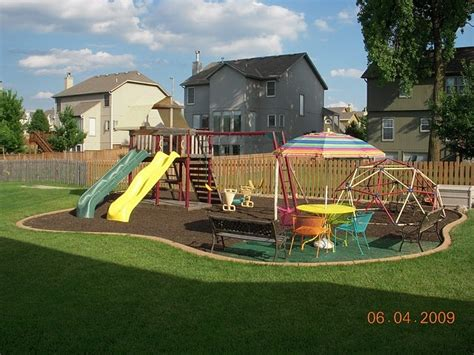 backyard play ground backyard play area mulched in how fun outdoor toys