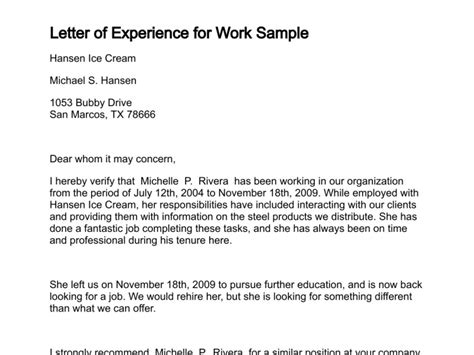 Write Work Experience Letter Template Letter Of Experience