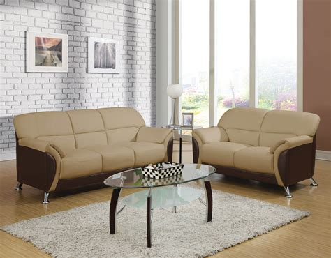 cream leather sofa and loveseat chocolate and cream leather sofa and loveseat using chrome