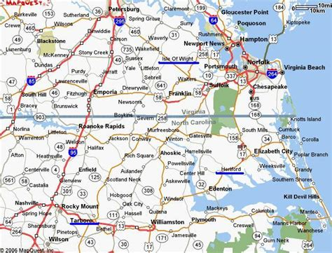 road map of carolina and virginia image gallery virginia