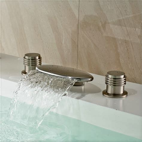 bathtub waterfall faucet waterfall widespread bathtub filler faucet brushed nickel