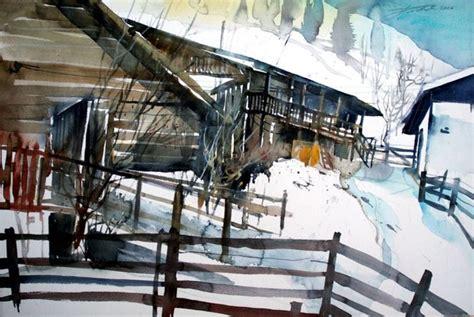 scheune malen bild winterlandschaft winterlandscape aquarellmalerei