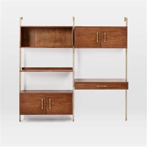 mid century wall desk linden mid century wall desk storage set west elm