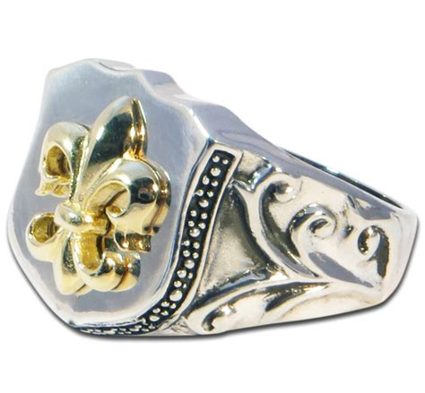 medium size fleur de lis ring gold plated evilrings