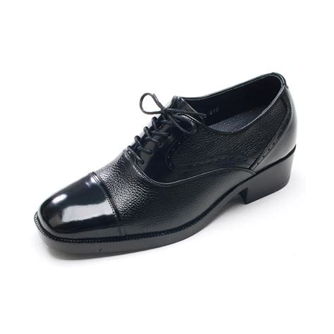 mens square toe black leather elevator dress shoes