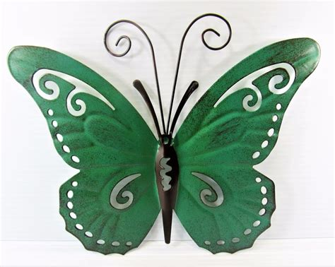 Butterfly Hand Painted Metal Wall Art Yard Garden Home Garden Metal Wall Butterfly