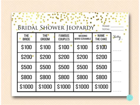 free printable bridal shower jeopardy game gold confetti jeopardy bridal shower magical printable