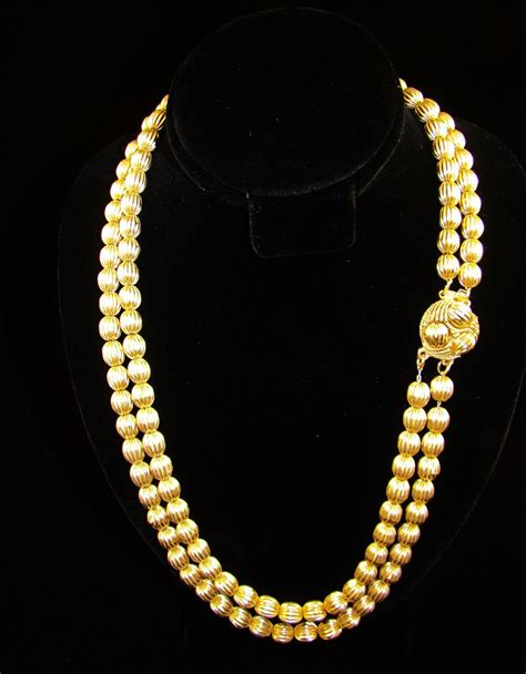 gold beaded necklace strand gold tone corrugated bead necklace from