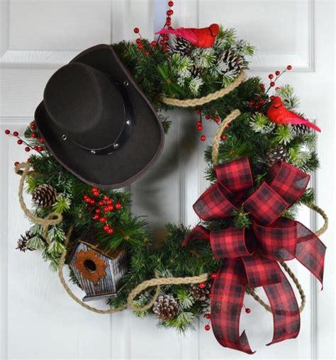western christmas decorating ideas cowboy winter wreath front door wreath