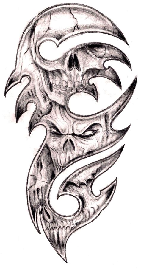 skull and tribal sleeve tattoos tribal and skull designs best design