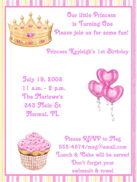 1st birthday invitation email sle princess birthday invitation wording 1st pink princess birthday invitations