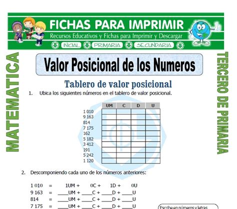 ejercicios de valor posicional para imprimir valor posicional para tercero de primaria fichas para