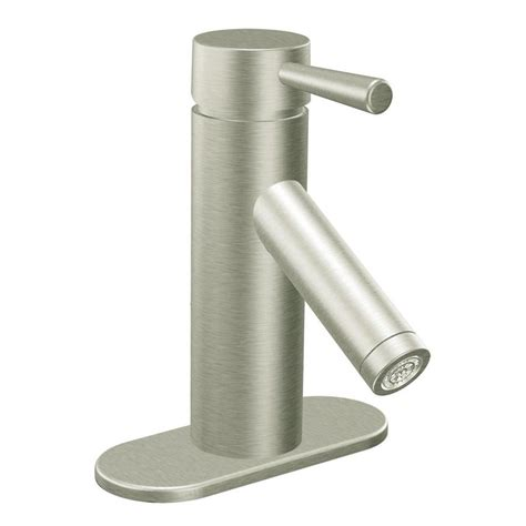 Brushed Nickel Bathroom Faucets by Shop Moen Level Brushed Nickel 1 Handle 4 In Centerset