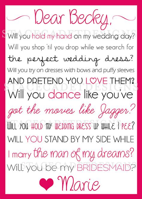 would u be my quotes custom printable will you be my bridesmaid or of honor