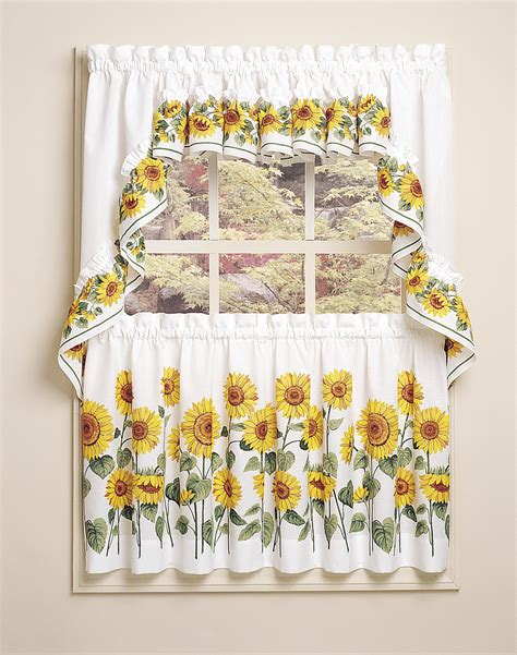 sunflower 3 piece kitchen curtain tier set curtainworks com