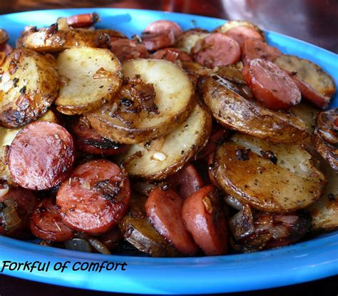 forkful of comfort sausage potatoes