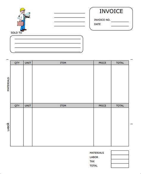free construction invoice template word invoice exle