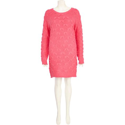 Bow Textured Jumper Mango river island pink chelsea bow knit jumper dress in