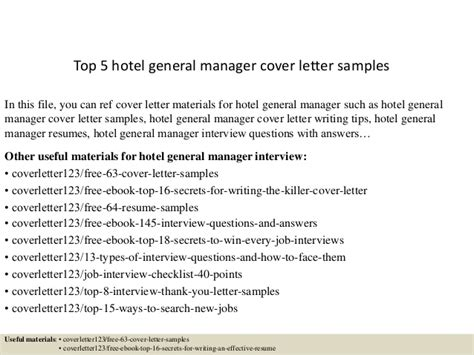 General Manager Cover Letter Exle Top 5 Hotel General Manager Cover Letter Sles