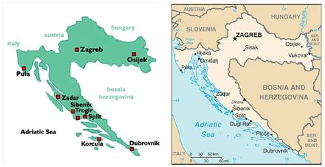 croatia map simple map of croatia with indication of main places and