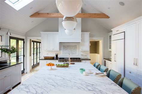 Marble Topped Kitchen Island Kitchen With Vaulted Ceiling Contemporary Kitchen