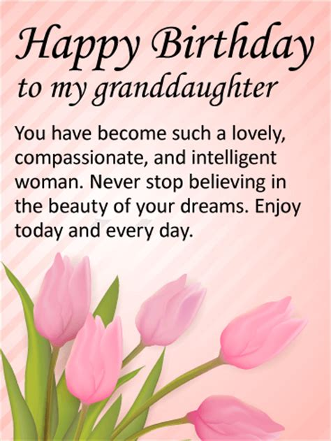 Happy Birthday Wishes For A Granddaughter To My Lovely Granddaughter Happy Birthday Wishes Card