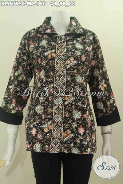Baju Batik Wanita Karier pakaian batik wanita karir baju batik model plisir dengan kerah polos untuk penilan