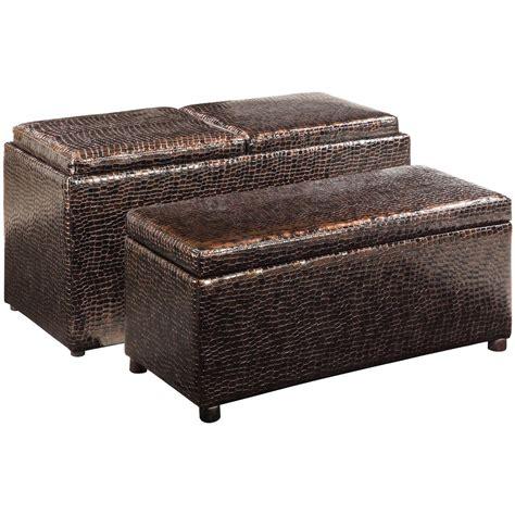Linon Windsor Storage Ottoman Set 609769 Living Room At