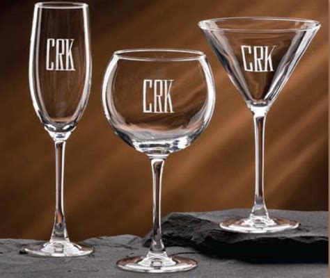 monogram barware personalized barware from dann monogramed and engraved crystal with your initials