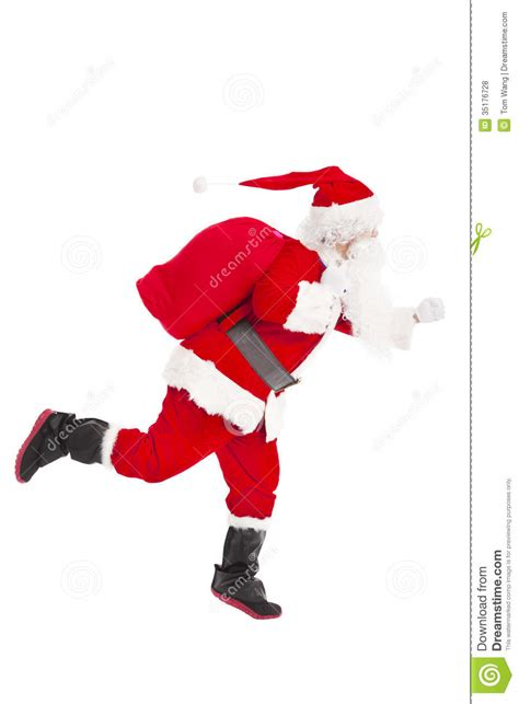 santa claus running  delivery royalty  stock  image