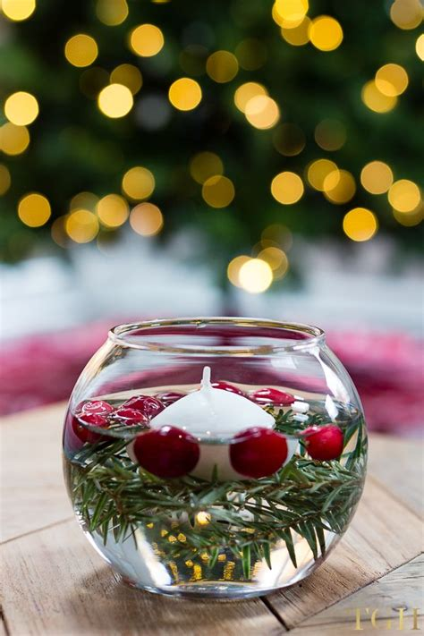 diy holiday floating candles diy candle centerpieces