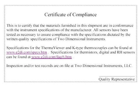 certification letter of compliance documents for the tv2 and other 2di products