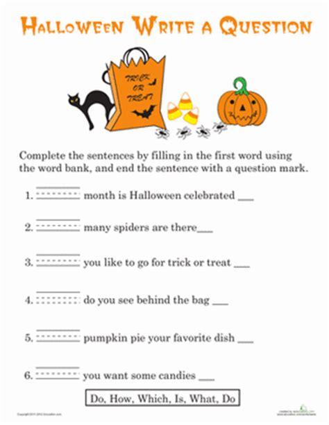 halloween themed quiz questions writing questions halloween worksheet education com