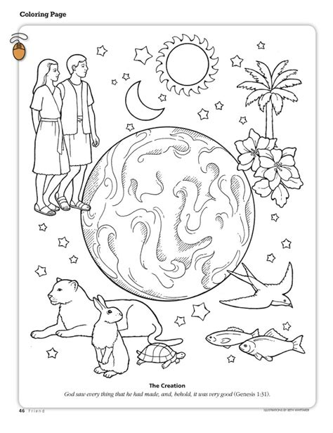 Christian Coloring Pages Creation | the creation coloring page depicting the earth adam and