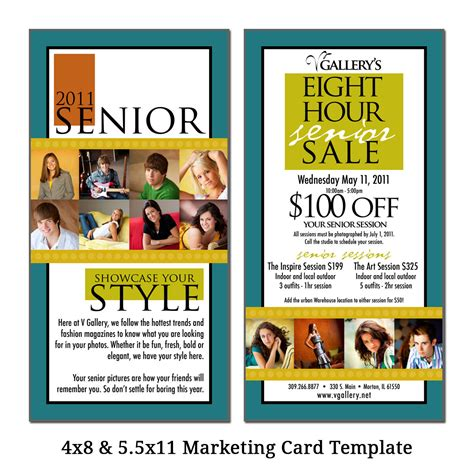 advertising card template 4x8 5 5x11 marketing card template senior sale digital