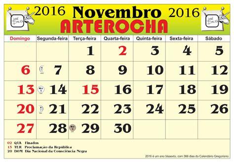 Calendario Novembro Arterocha Calend 193 Mes De Novembro 2016