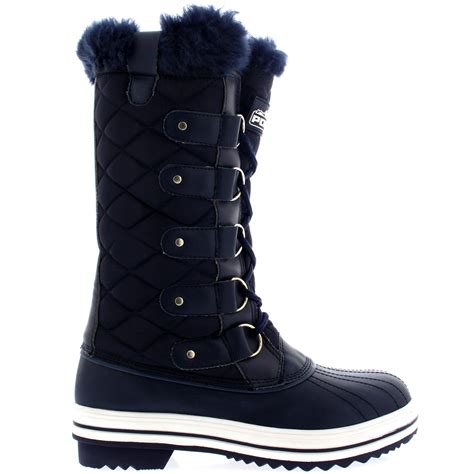 womens quilted lace up fur lined warm shoes duck