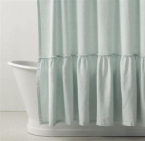 green ruffle shower curtain gathered ruffle trim pink linen shower curtain