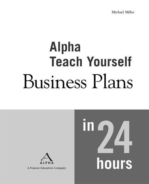 teach yourself to fly books alpha books teach yourself business plans in 24 hours
