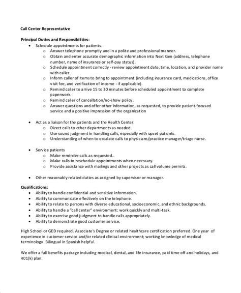 Call Center Representative Resume by Sle Call Center Resume 8 Exles In Word Pdf